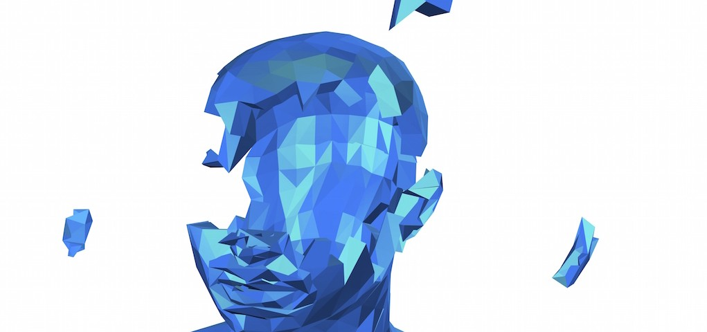 Stress and depression concept with shattered human face. 3d illustration isolated on white.